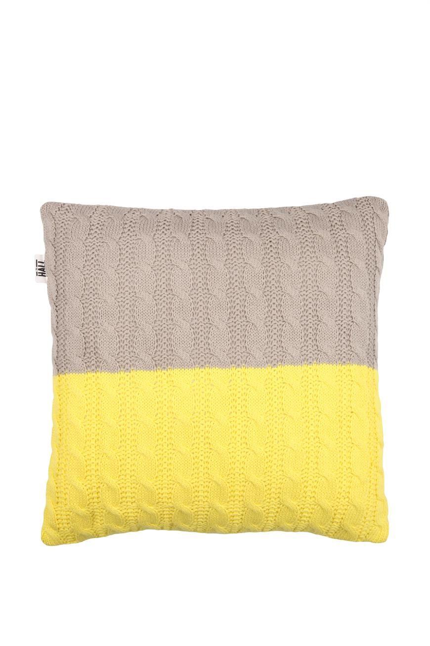 Knitted cushion taupeyellow interior decor pinterest