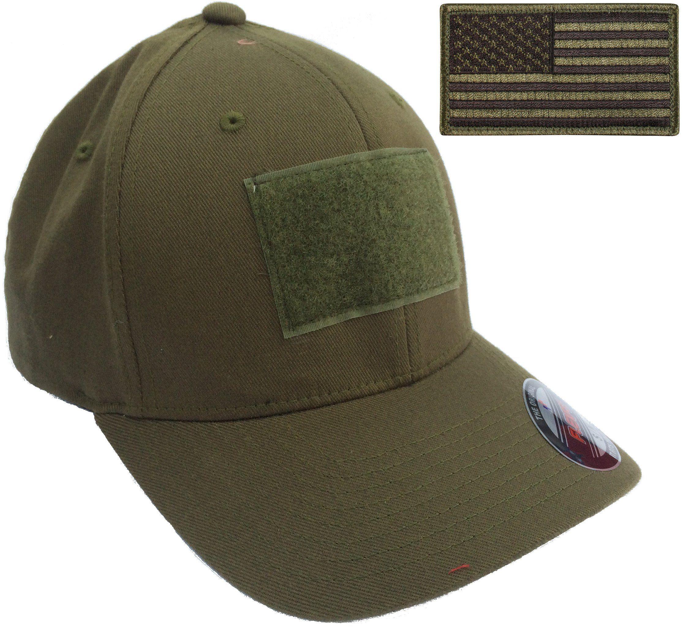 ba601d39fabfd Men s Fitted 98% Cotton Flexfit Mid Profile Tactical Cap w Velcro Area and  Patch
