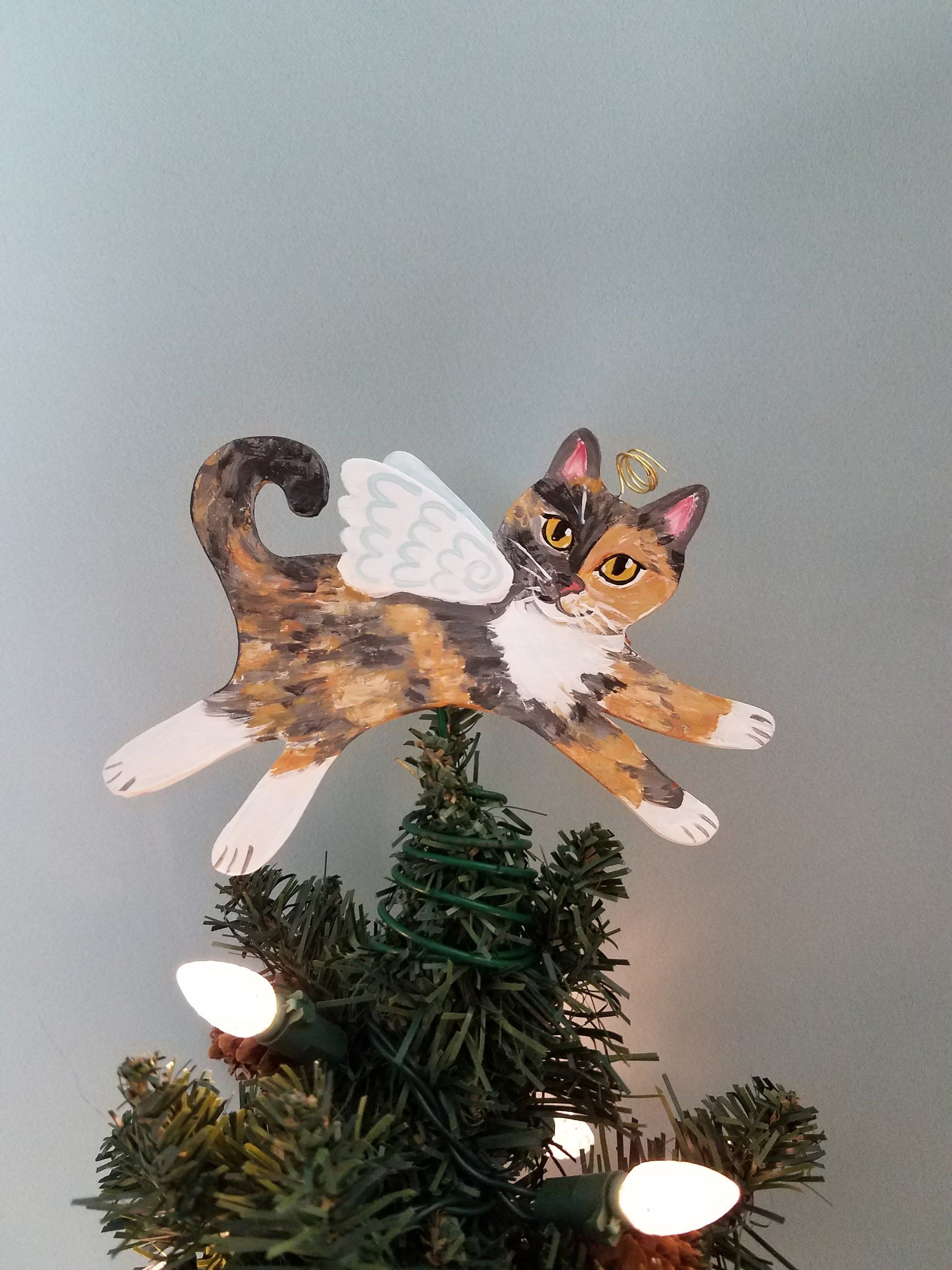 Dilute Calico Cat Tree Topper Cat Christmas Tree Topper