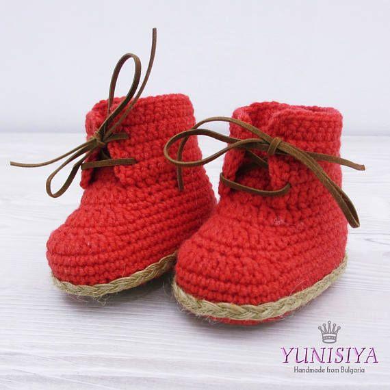 Rot häkeln Baby Stiefel häkeln Booties Stiefel für Jungen Dusche ...