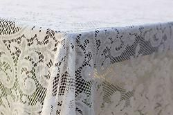 Antonia Vintage Lace Tablecloth, vintage linens for rent Dish Wish California & Hawaii Event Rentals, vintage linens for wedding, vintage bridal shower, vintage lace, lace wedding