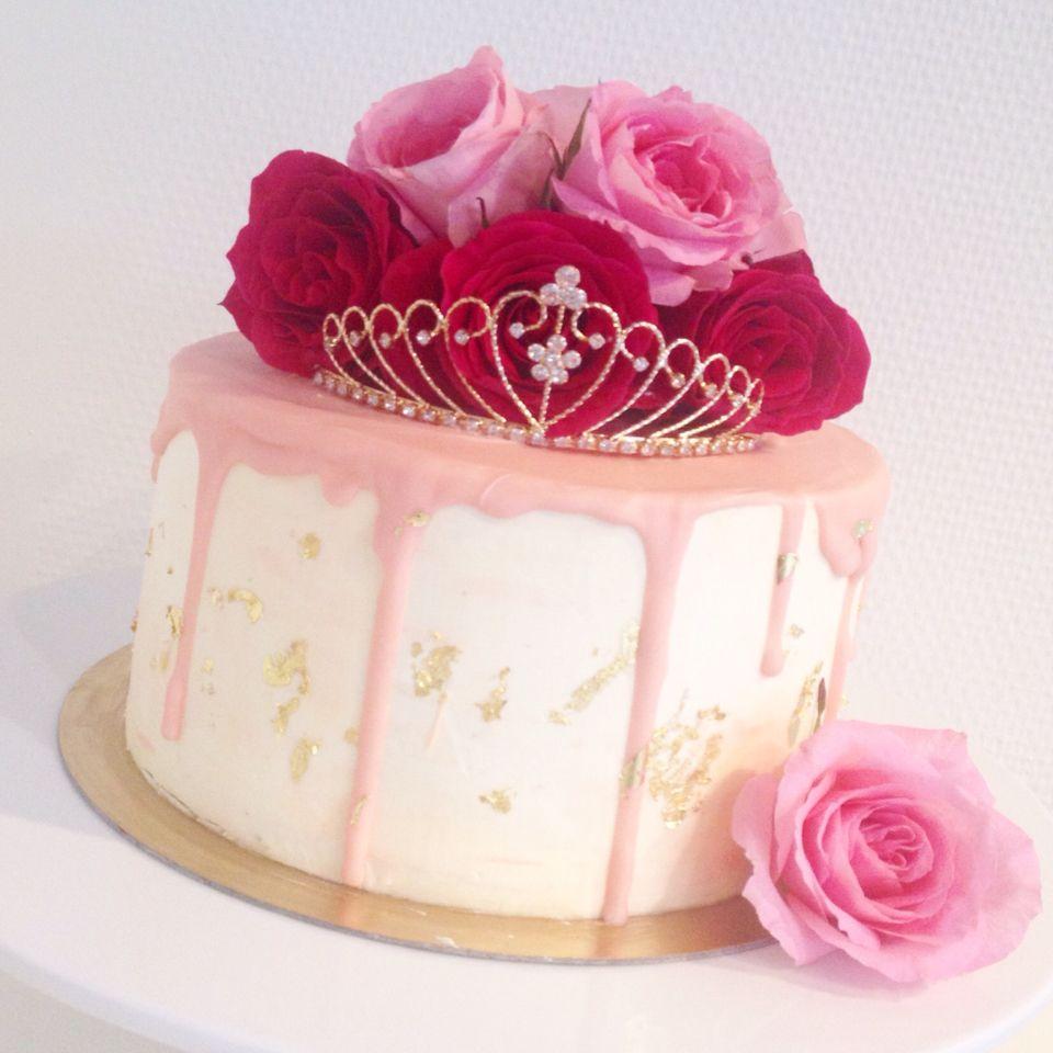 Pink And Gold Princess 1st Birthday Party Fresh Pink And: Princess Drip Cake / Pink, Gold, Fresh Roses Birthday Cake