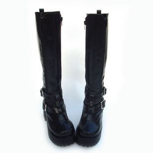 New popular LOLITA female high boots COS boots PUNK high boots double zipper high boots 9637A black - Taobao    $308.00 CNY or $49.0096 USD