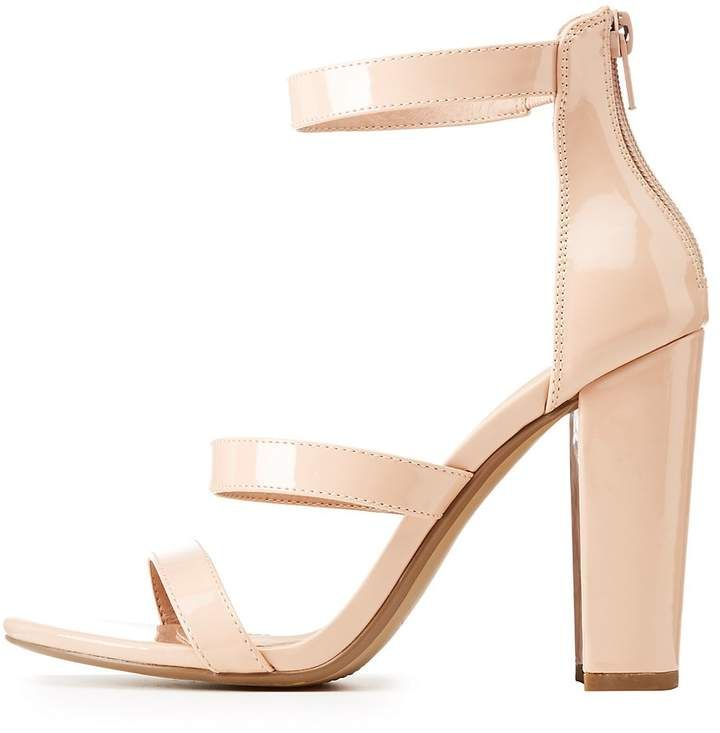 eac68718c7 Charlotte Russe Wide Width Ankle Strap Chunky Block Heel Sandals ($20) ❤  liked on Polyvore featuring shoes, sandals, nude, chunky-… | My Polyvore  Finds ...