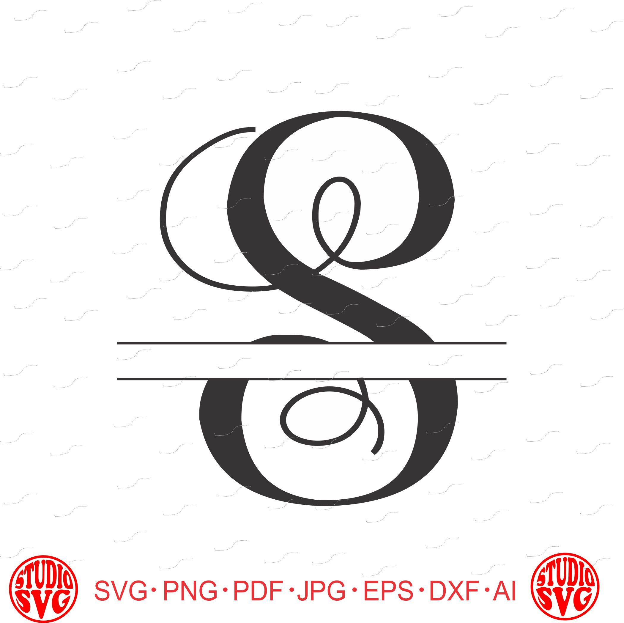 digital cut file, split vine letters - letter s, s, split s