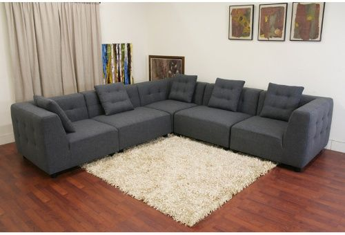 Baxton Studio Alcoa Gray Twill Sectional Sofa Sectional Sofas at