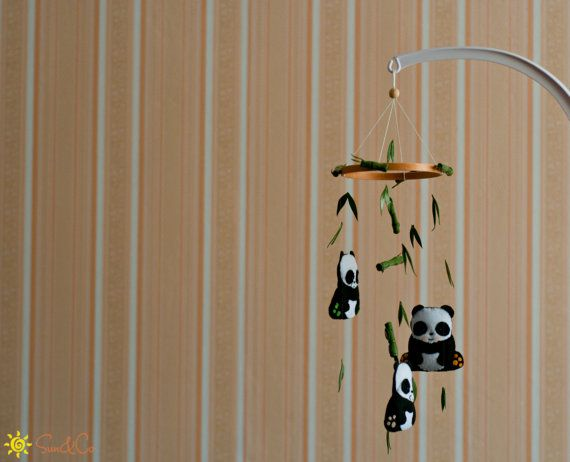 Baby Panda mobile-Bamboo mobile-Panda nursery by SUNandCo on Etsy