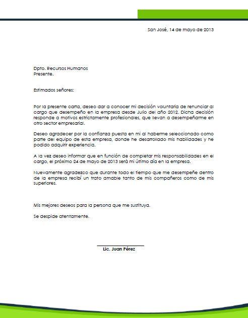 Ejemplo Carta De Renuncia Costa Rica Carta De Renuncia