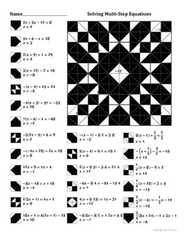 Solving Multi Step Equations Coloring Worksheet Fise Negre