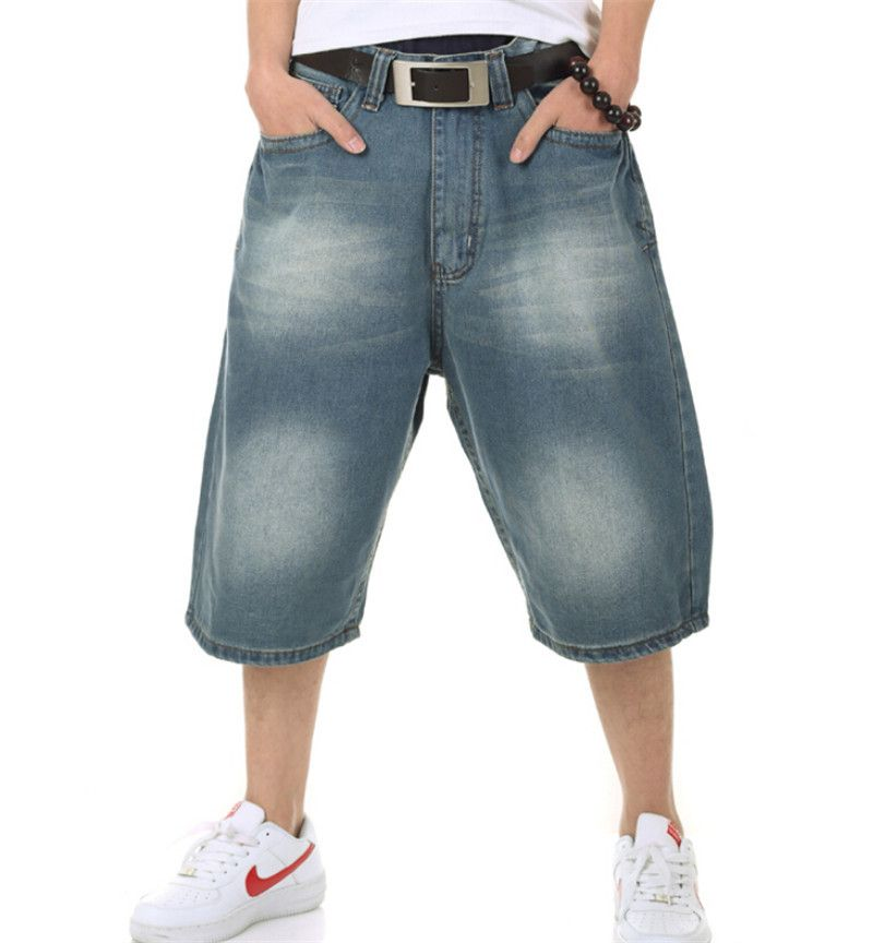 (Buy here: http://appdeal.ru/121r ) Baggy Jeans Mens Short Hip Hop Pants Blue Loose Style Dance Skateboard Jeans Calf-Length Pants For Boy And Men Rapper for just US $46.00