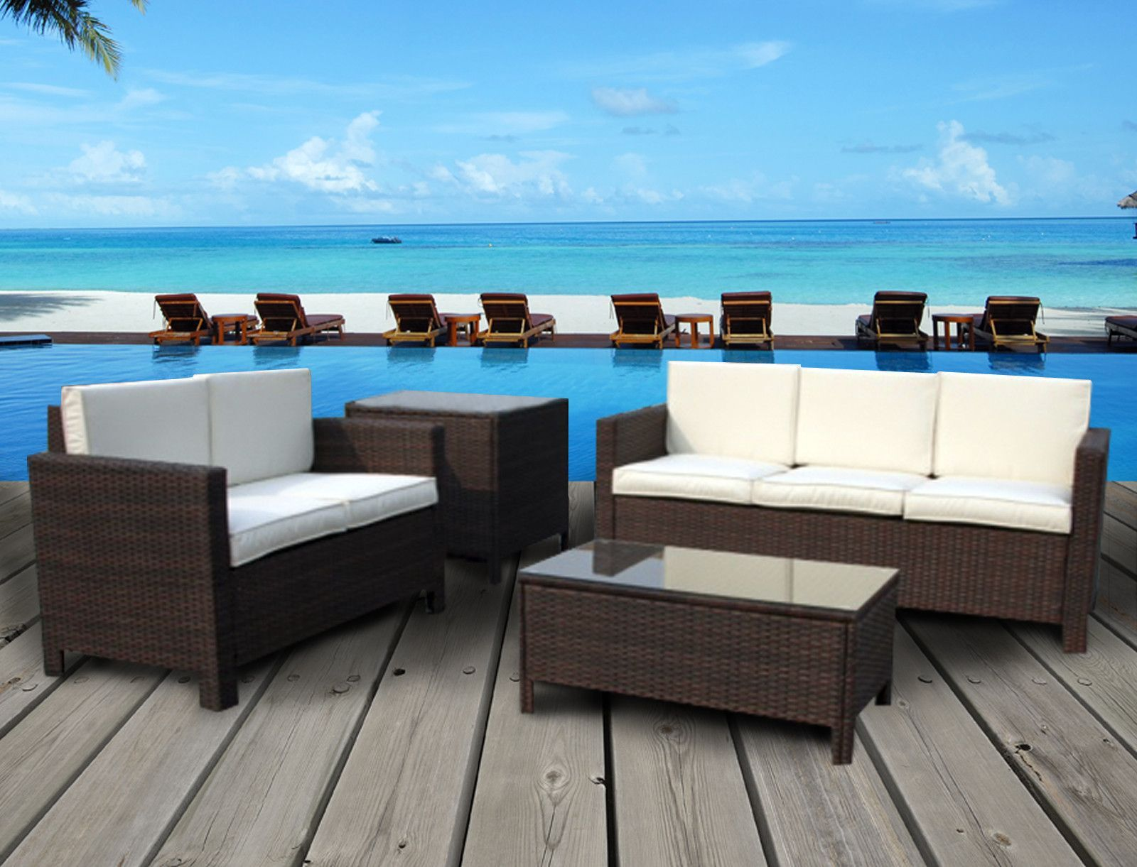 Whitehouse Collection - 3 Seater Patio Set with Extra Side Table (Mixed Brown)