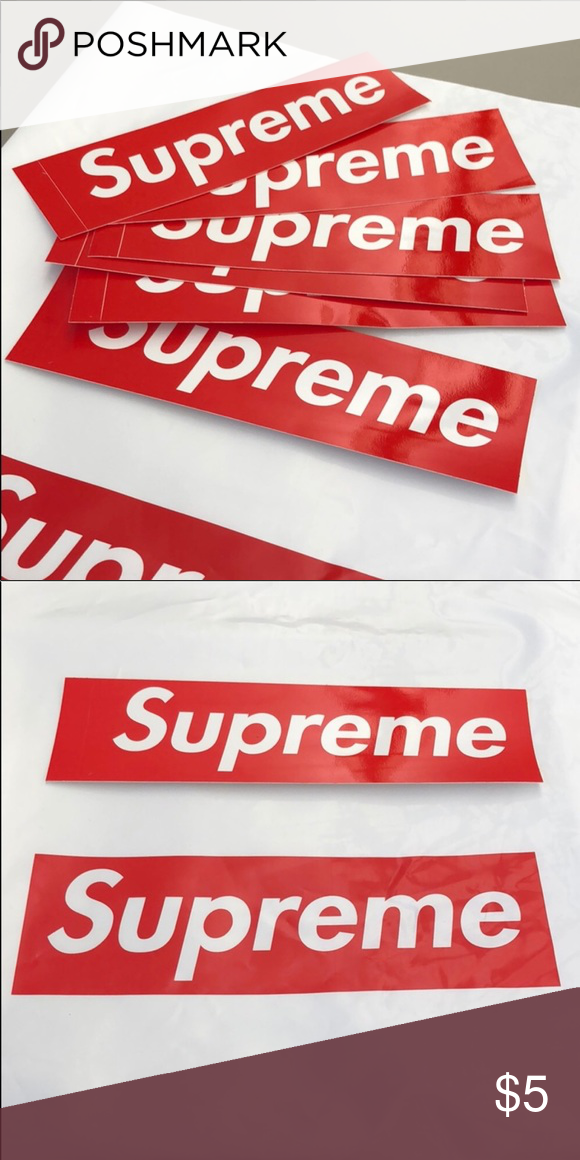 """cabaaf6415ea Supreme Stickers! 💯 Supreme Stickers! Brand new! 8""""x2.2""""  5 for 1  8 for 2  Let me know how many you would like  ) Supreme Other"""