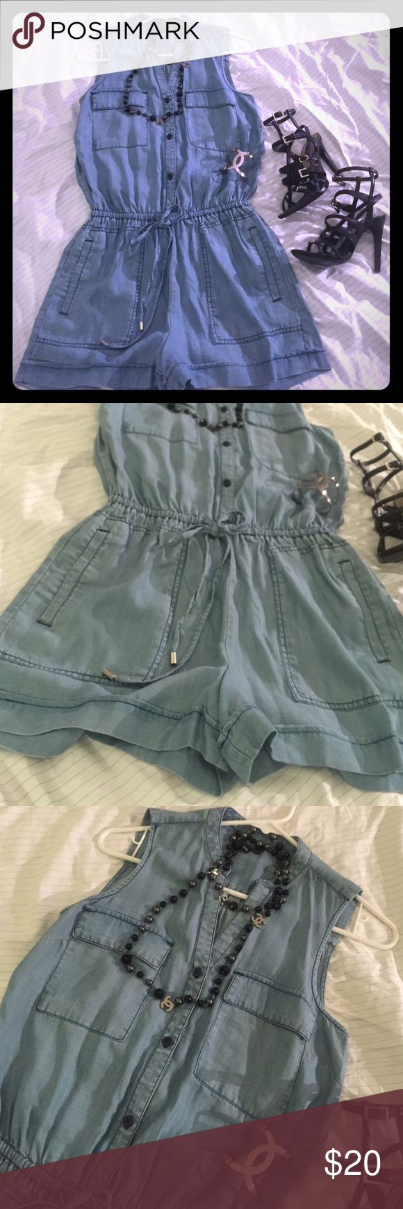 a687e6c3e42 Denim Jumper NWT light weight denim romper. Elastic and drawstring waist  band. Mossimo Supply Co Pants Jumpsuits   Rompers