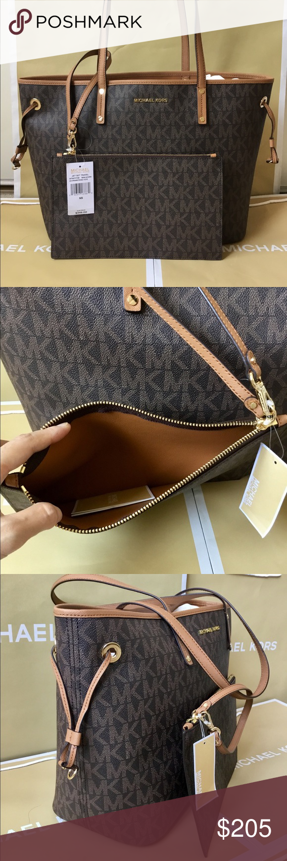 48186a999dcb 🌿Michael Kors Jet Set Travel Large Drawstring Bag ✅ Style  35T8GTVT9B ✅  Composition  PVC Coated Twill ✅ Details  MK signature coated twill with  acorn ...