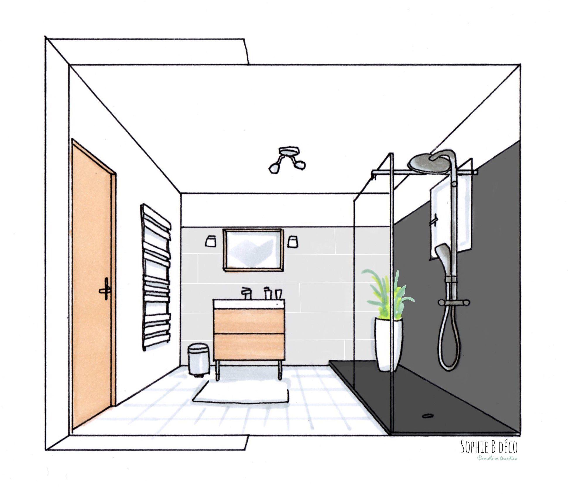 Croquis salle de bain r novation en gris blanc et bois sophie b d coratrice d 39 int rieur www - Salle de bain grise et bois ...