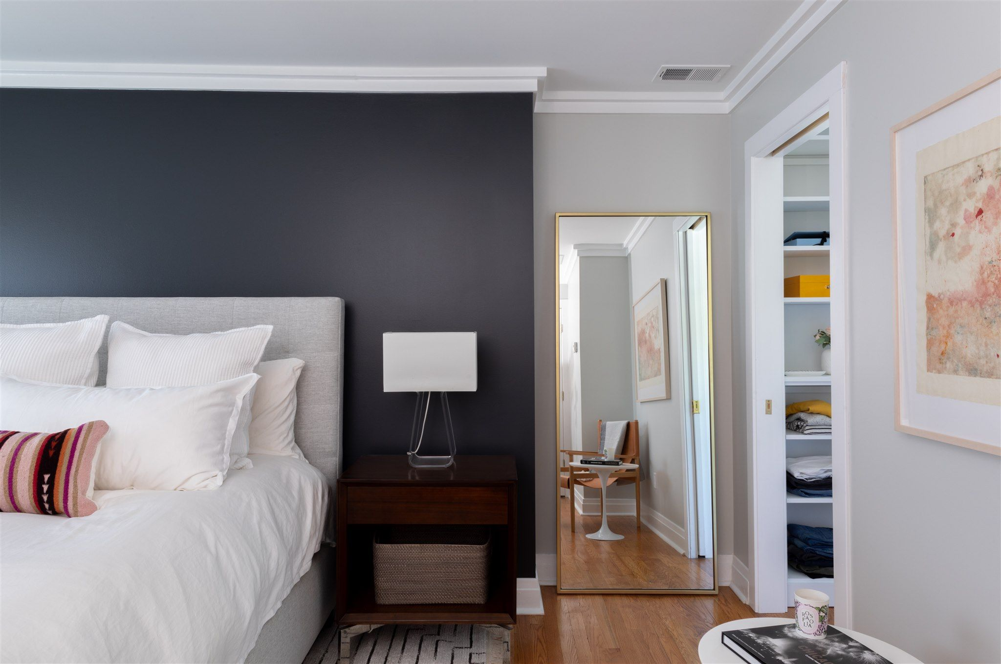 In The Bedroom We Pulled In A Black Accent Wall To Tie Into The Contrast In The Bathroom And Add Black Accent Walls White Bedding Master Bedroom White Bedding