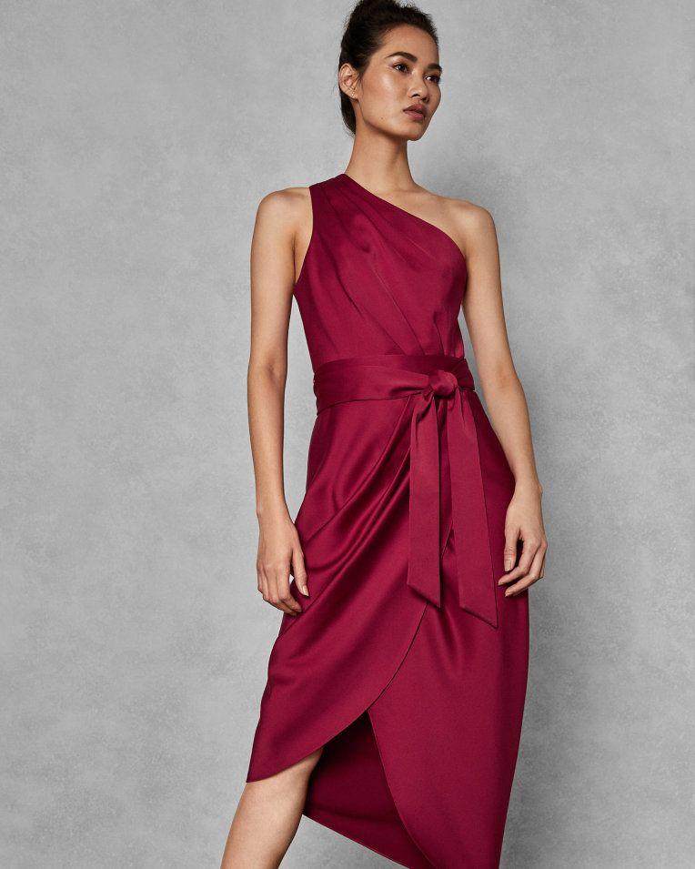 49e90e5a2 One shoulder drape midi dress - Red