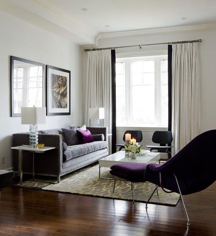 Living Room Purple Grey White Black Chartreuse