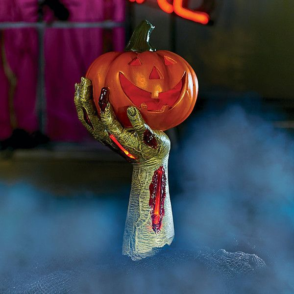 Improvements Zombie Arm Holding Pumpkin Lantern Outdoor Halloween - zombie halloween decorations