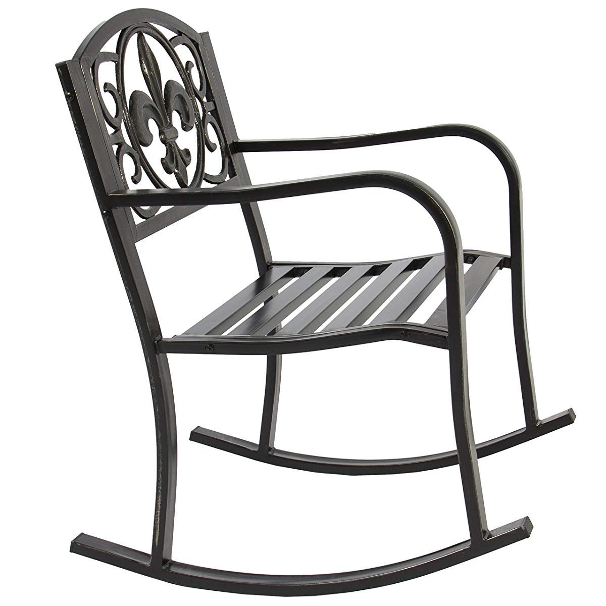 Metal Rocking Chair Seat For Outdoor Black Bronze Metal Rocking Chair Outdoor Rocking Chairs Rocking Chair