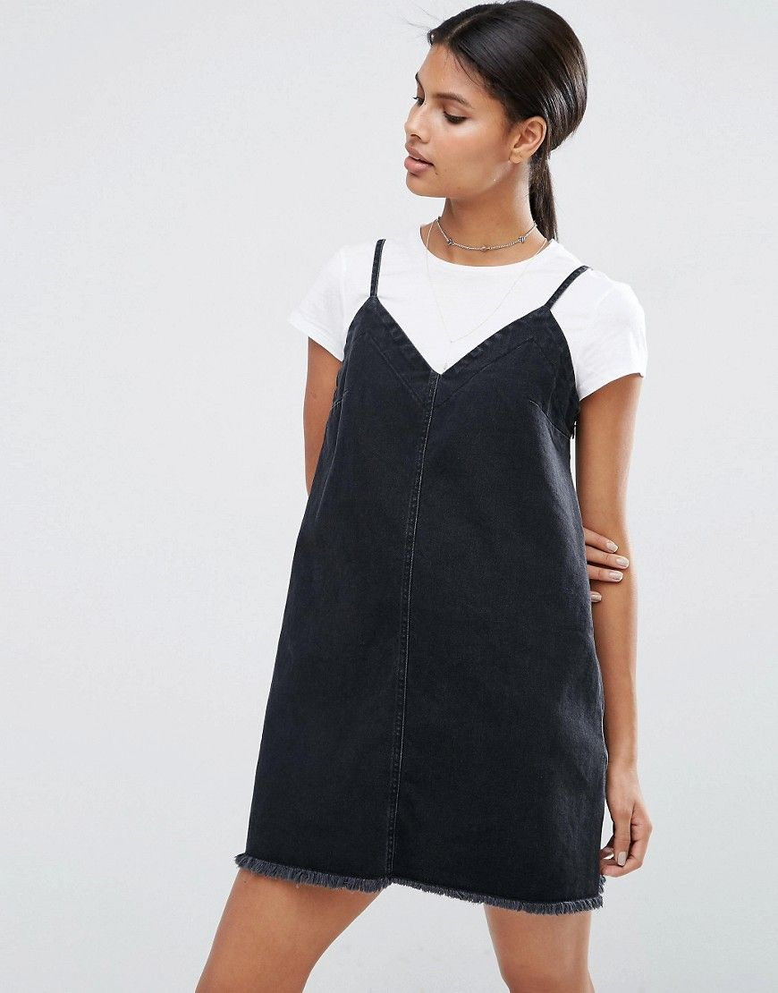 c9aac1853a Image 1 of ASOS Denim Mini Slip Dress in Washed Black with Raw Hem ...