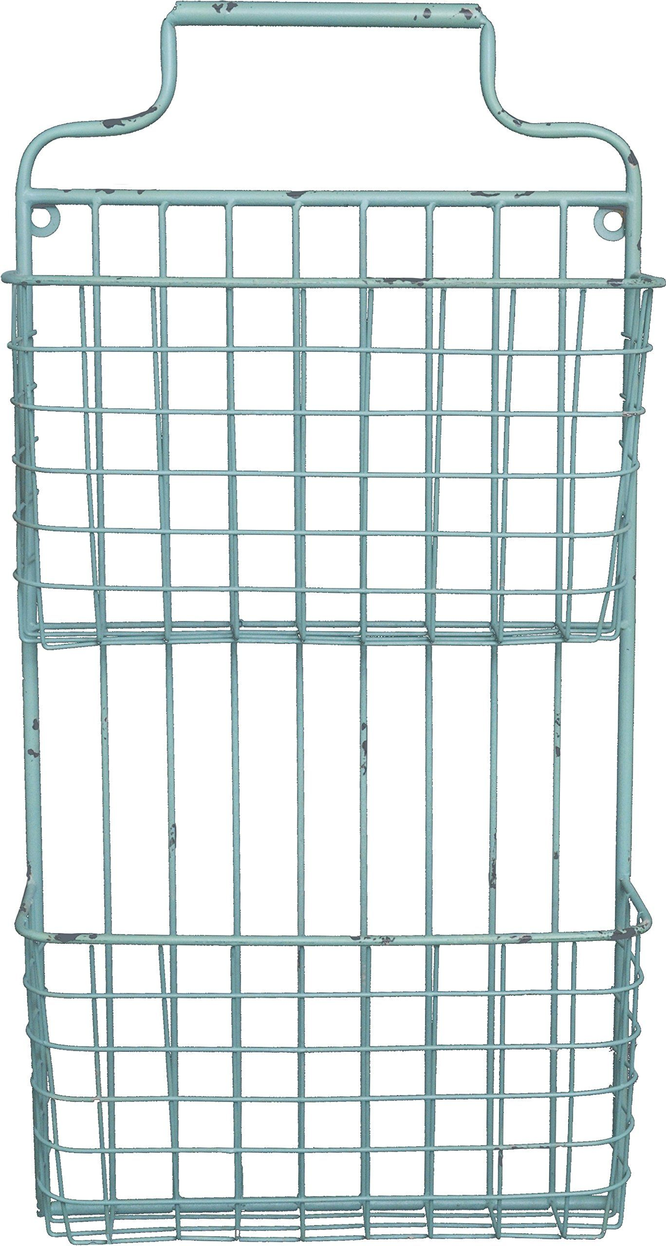 Two Tier Distressed Metal Wall File (Light Green) Solid Metal Wire ...