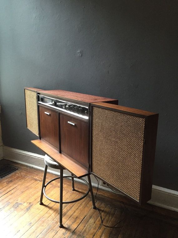 Mid Century Stereo Media Console By Ge Wall Mount Vintadelphia