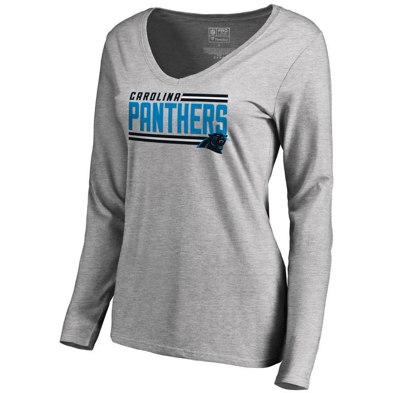 cd4e8bd78 Women s NFL Pro Line by Fanatics Branded Ash Carolina Panthers Iconic  Collection On Side Stripe Long Sleeve V-Neck T-Shirt