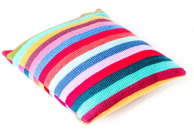 Striped Tunisian Cushion
