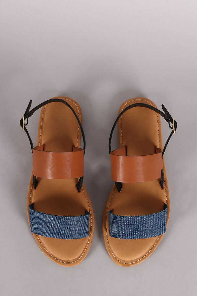 Two Tone Double Band Slingback Flat Sandal