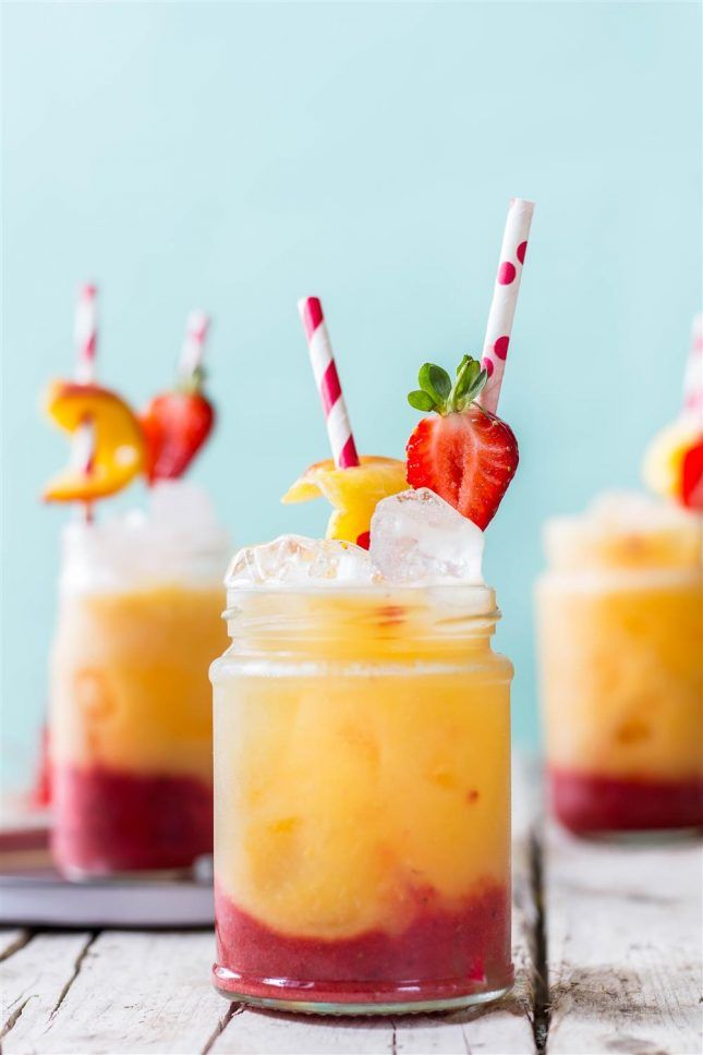 Roasted Peach + Strawberry Fizz.