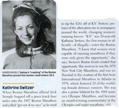 """If You Are Losing Faith in Human Nature, Go Out and Watch a Marathon,"" wrote KATHRINE SWITZER, 20 yrs of age, the 1ST Woman to officially - if illegally - Run the Boston Marathon in 1967.   ---->   That Day, The world saw TWO Opposing Models of Masculinity:   (1) The Violence & Paranoia of the Marathon Director   VS   (2) The Strength and Solidarity of the other Male Runners."