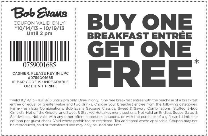 50 Off Bob Evans Coupons Bob Evans Deals Daily Deals Bob Evans Print Coupons Printable Coupons
