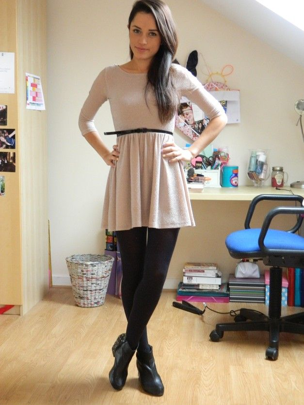 Color tights with beige dress