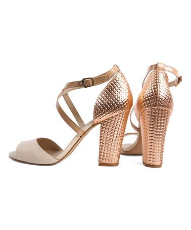 2e69c316dbd2 Love this Gold   Beige Loucos   Santos Leather Sandal on  zulily!   zulilyfinds