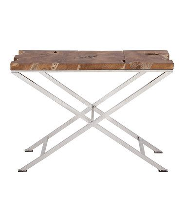 Teak & Steel Console Table; idea to make from that old fashioned ironing board.