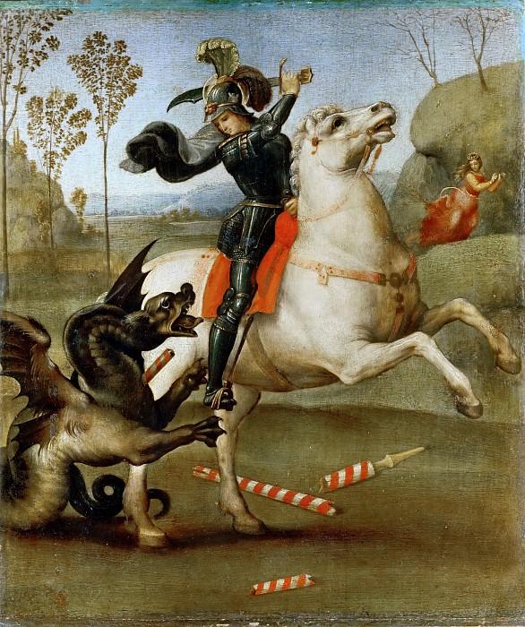 Louvre – Raphael -- Saint George and the Dragon 1503-05, 29х25 | Saint  george and the dragon, Painting, Art