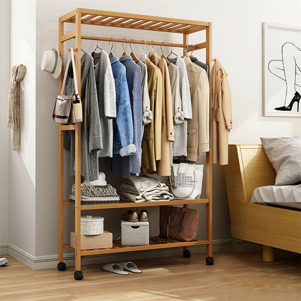 Bamboo Garment Closet Rack Clothes Storage Organizer Hanging Rail Shelf On Wheel Ebay In 2020 Clothes Storage Organizer Storage Closet Organization Closet Rack