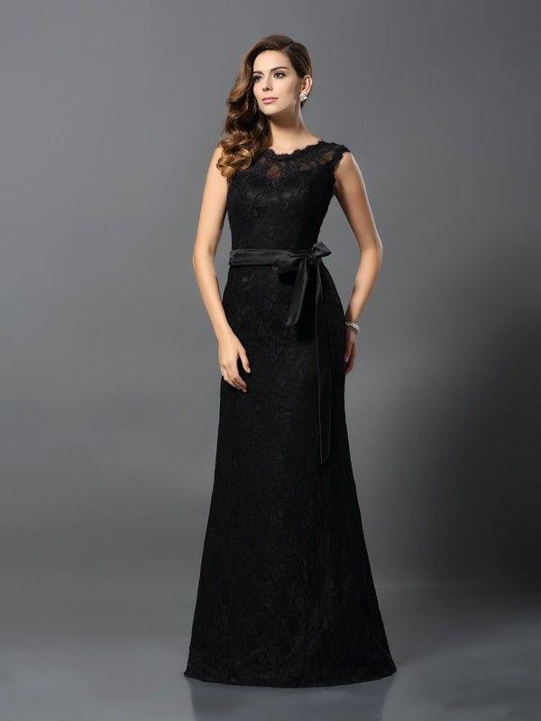 33dab99603d Sheath Column Scoop Lace Sleeveless Floor-Length Satin Dresses ...