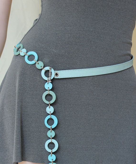 Shades of Turquoise Leather  Belt Made by Justlena,
