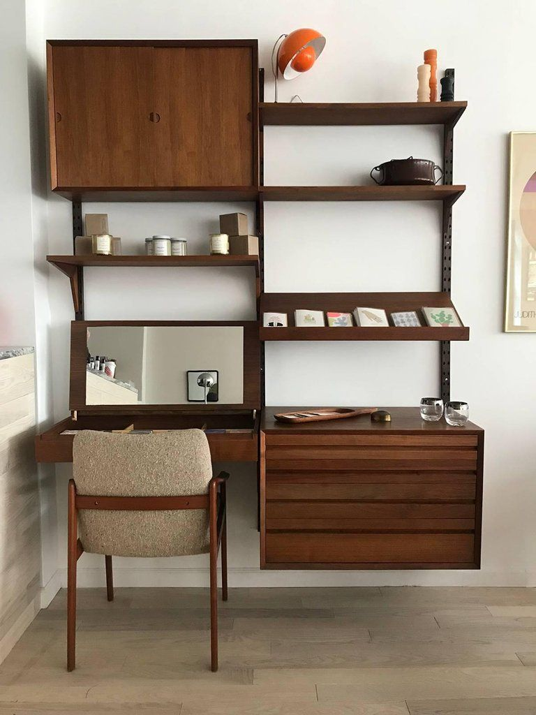Midcentury Teak Modular Poul Cadovius Wall Unit And Desk With Mirror For Sale 4 Home Furniture Design Wall Unit