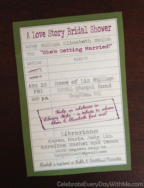 love this library-themed shower invitation - great for bride who loves to read or a build-a-library baby shower