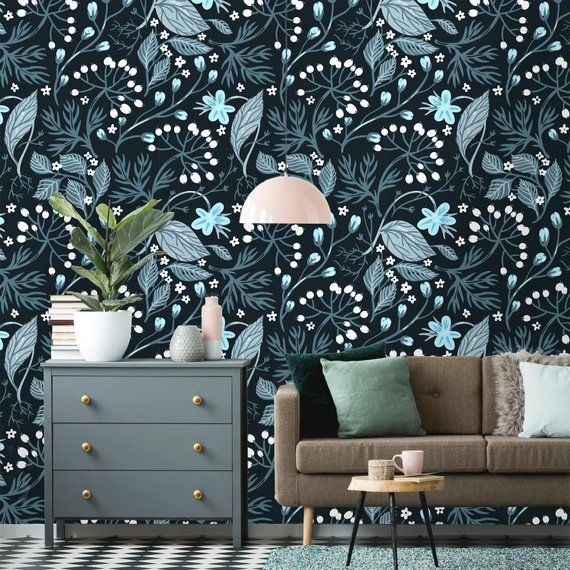 Removable Wallpaper Peel And Stick Floral Pattern Flower Etsy Wallpaper Removable Wallpaper Textured Walls