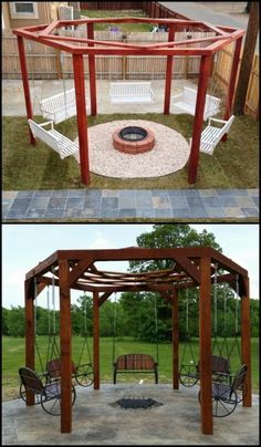 Enjoy your outdoor area by building a hexagonal swing with ...