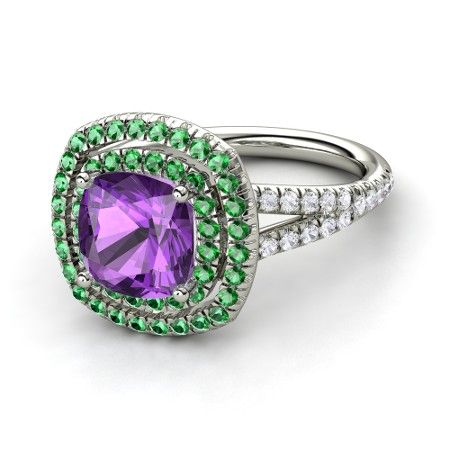 Cushion Amethyst 18K White Gold Ring with Emerald