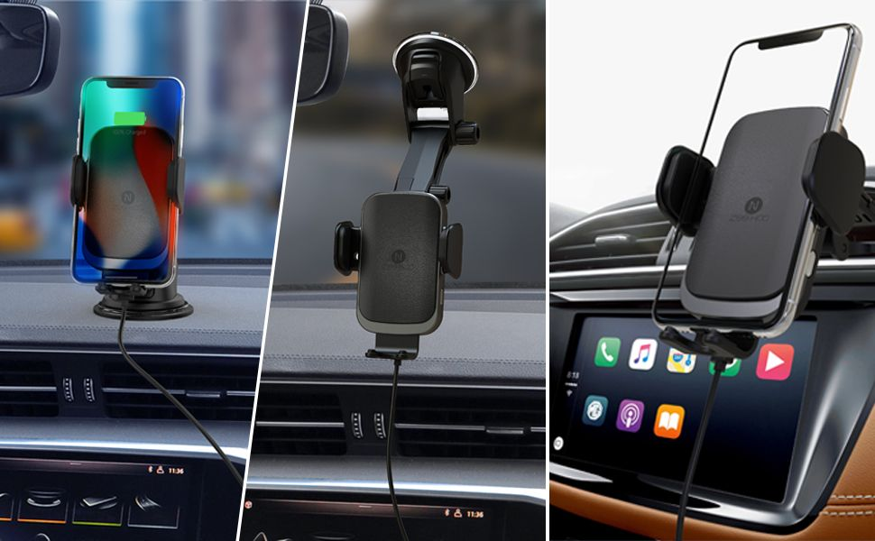 Car Phone Holder for Dashboard Windshield Air Vent Squish Qi Wireless Car Charger Mount Auto-Clamping Wireless Fast Charger Mount Compatible with Samsung S10//S9//S9+//S8//S8+//Note9//Note8 and iPhone