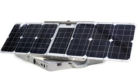 Aspect Solar Sunsocket Sun-Tracking Solar Generator Solar output: 250Wh Solar panels: 60Watts Battery: 20Ah Size: 16.5 x 20.2 x 4.2 inches Weight: 25lbs Price: $1,999