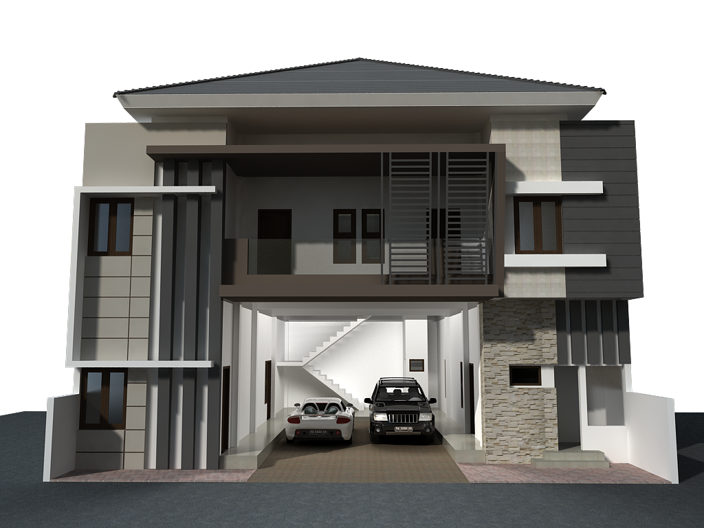 Design rumah kost sederhana keren next goals pinterest boarding house 3d rendering and - Painting exterior render model ...