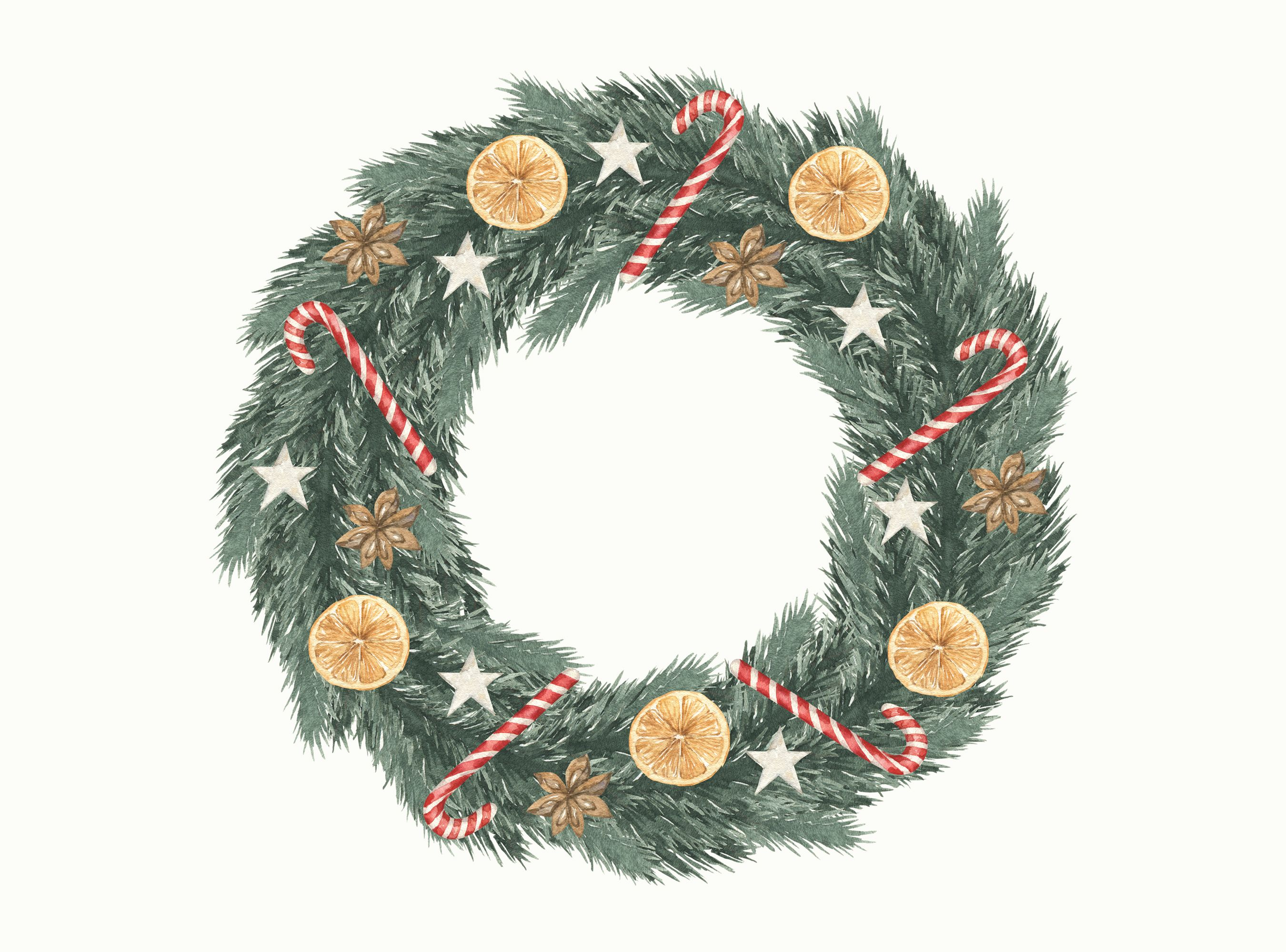 Watercolor Christmas Greenery Pine Twig Wreath Orange Candy Aniseed Floral Winter Clipart Png In 2020 Christmas Watercolor Christmas Greenery Christmas Wreaths