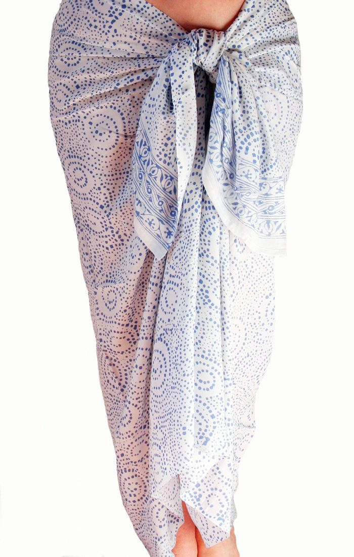 6b01931d66216 White Chiffon Sarong Women's Swimwear Beach Sarong Pareo Wrap Skirt  Swimsuit Cover Up White and Blue Beach Wrap Skirt Sarong Coverup - Scarf by  PuaWear on ...